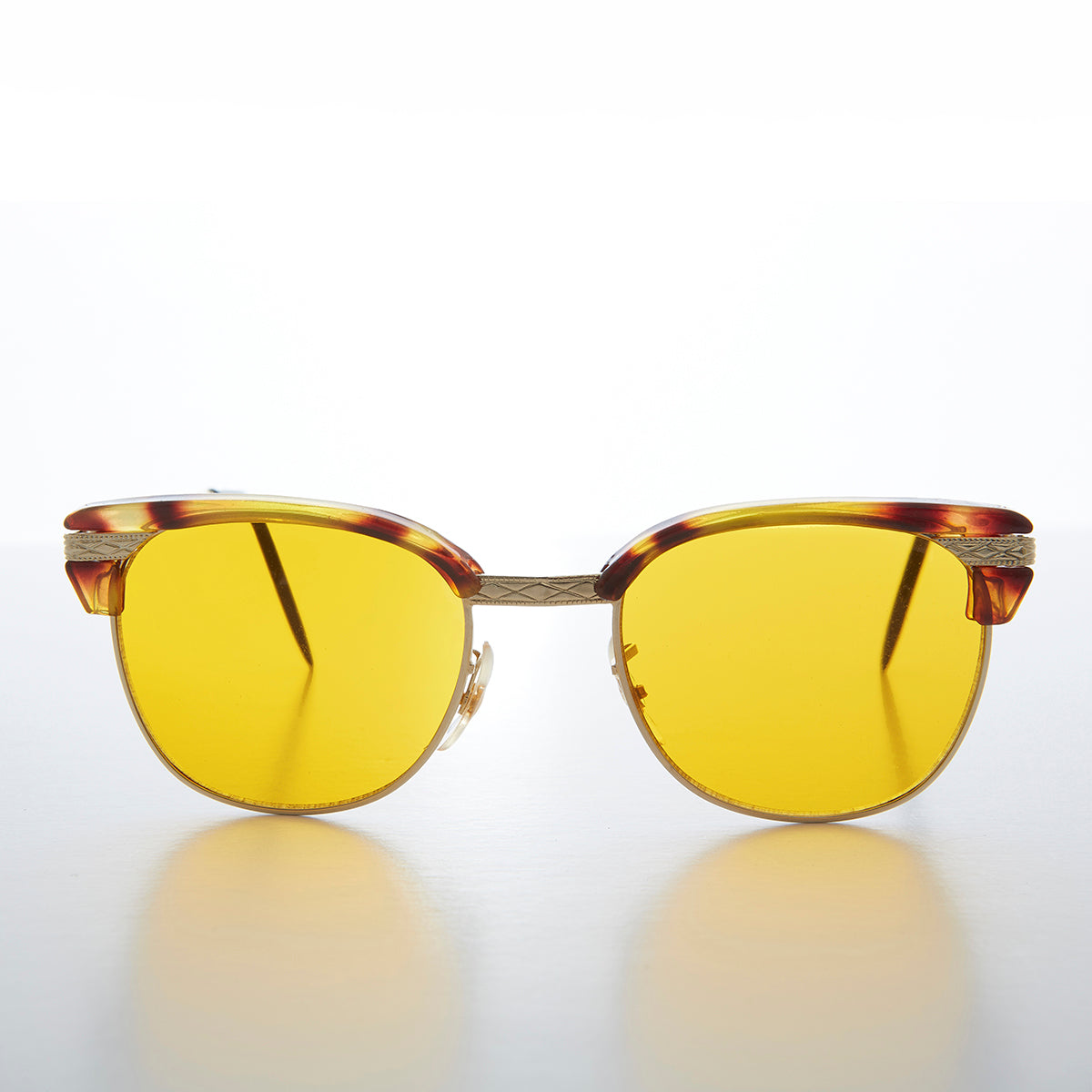 Yellow Amber Tinted Lens Classic Browline Vintage Sunglass