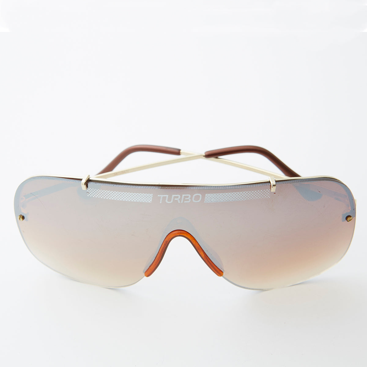 80s One Piece Aviator with Reflective Lens and Rimless Frame