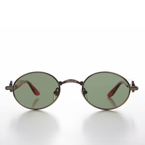 Unique 90s Oval Lens Jagged Temple Design Vintage Sunglass