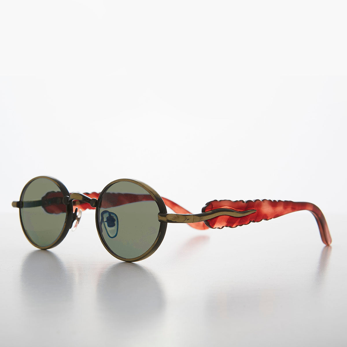 Unique 90s Oval Lens  Vintage Sunglass Jagged Temple Design