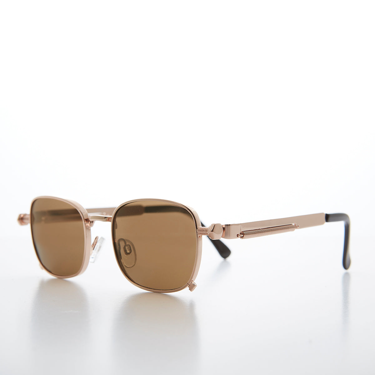 Tailored Steampunk Gold Sunglasses with Industrial Temples
