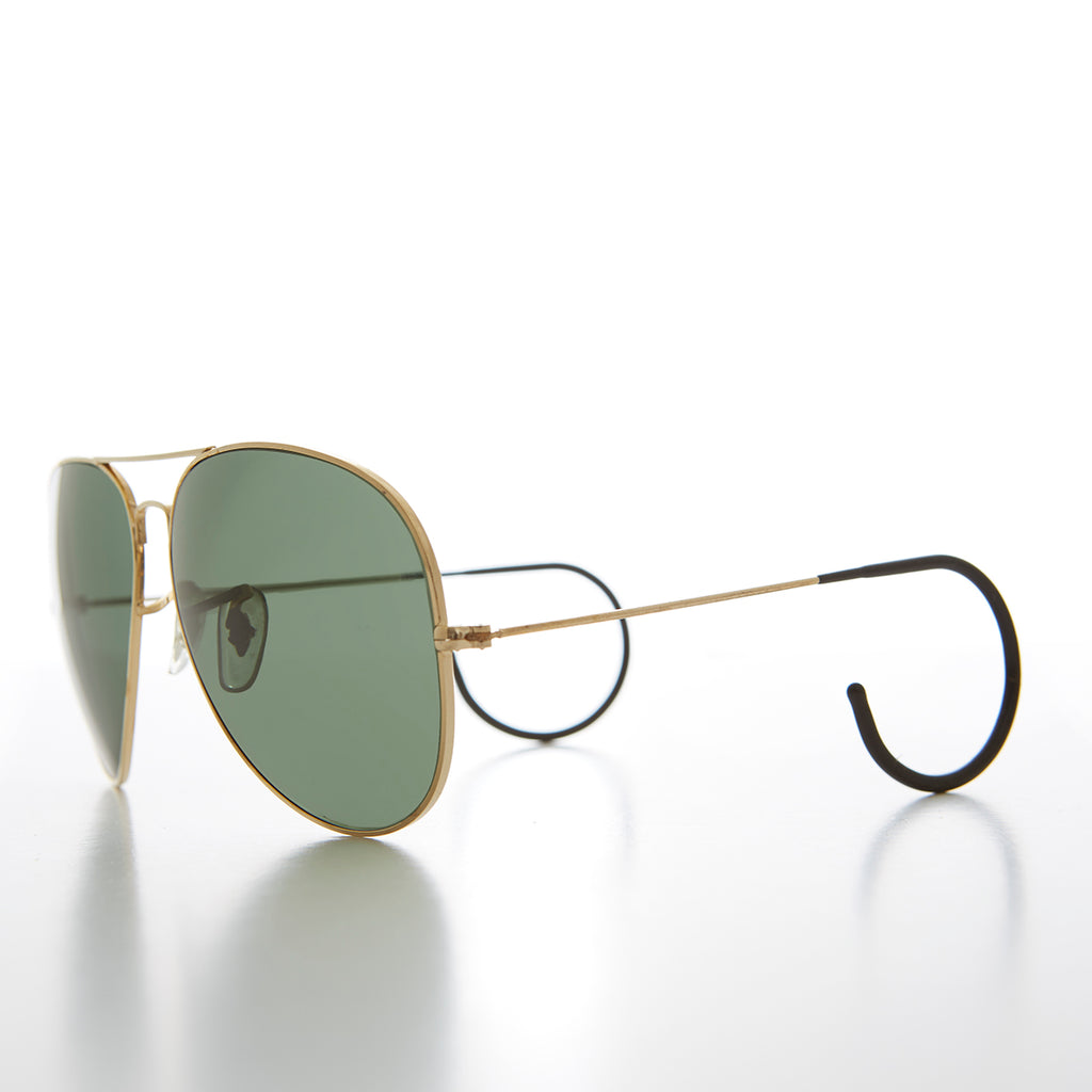 Vintage Aviator Sunglasses with Cable Wrap Temple and Glass Lens
