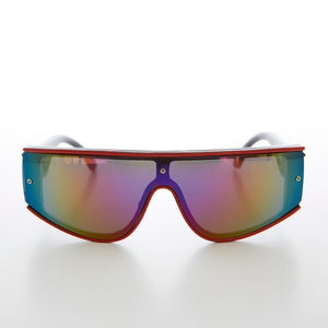 80s Shield Vintage Sunglass with Mirror Lens