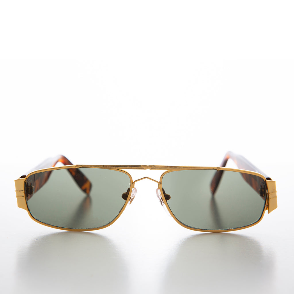 Retro Gold Rectangular Aviator Sunglass