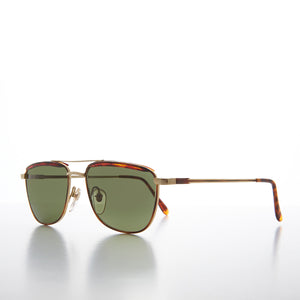 Gold and Tortoise Square Aviator Sunglass
