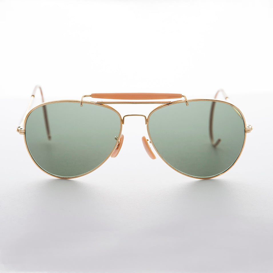 Vintage Aviator Sunglasses with Cable Temples and Glass Lens