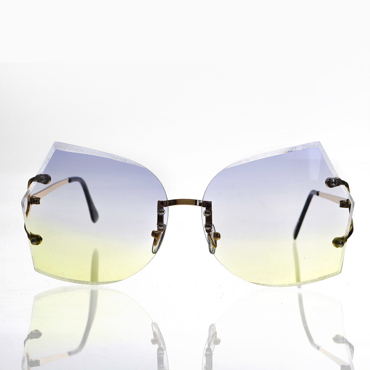 rimless oversized butterfly sunglass with blue and yellow lenses