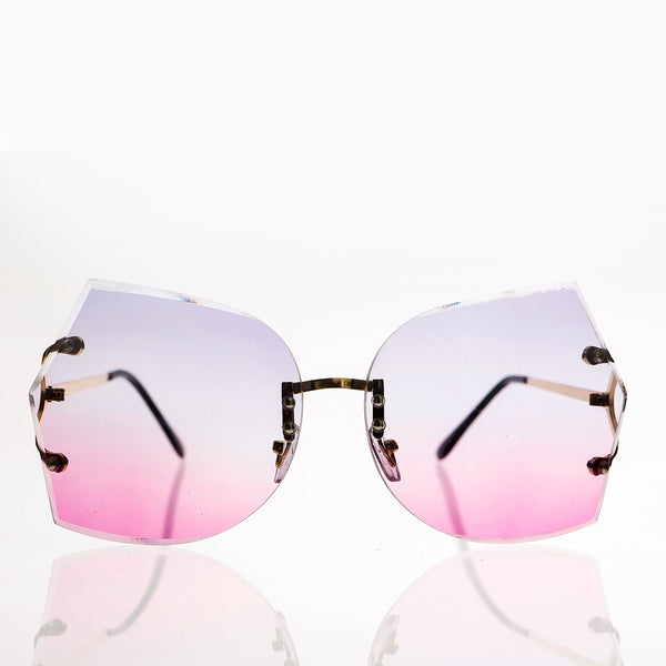 rimless oversized butterfly sunglass with pink and purple lenses