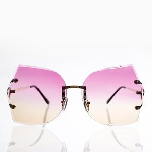 rimless oversized butterfly sunglass with pink and brown lens