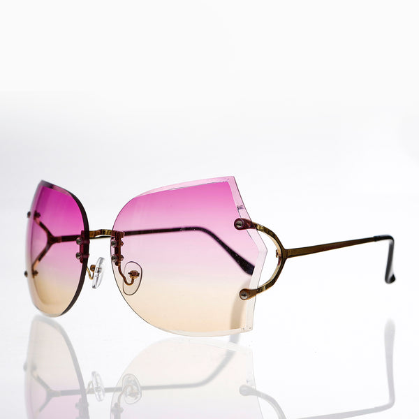 rimless oversized butterfly sunglass with purple and brown lenses