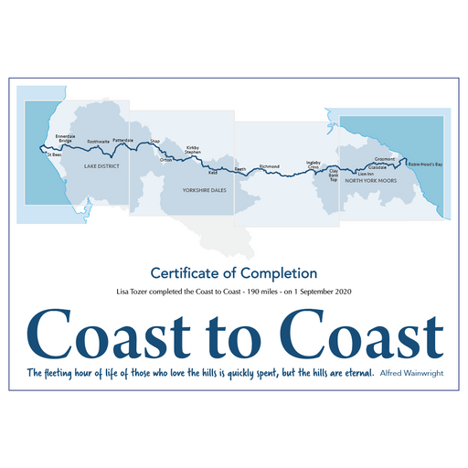 Coast to Coast Walk Completion Certificate-The Trails Shop