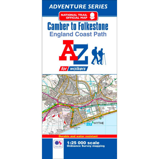 England Coast Path Camber to Folkestone A-Z Adventure Map-The Trails Shop