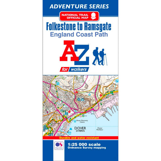 England Coast Path Folkestone to Ramsgate A-Z Adventure Map-The Trails Shop