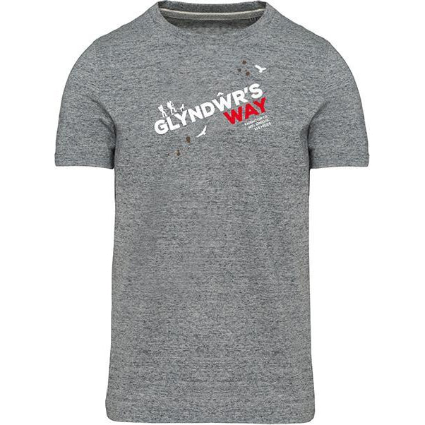 Glyndwr's Way Hiking T-Shirt-Men's Small-Grey Heather-The Trails Shop