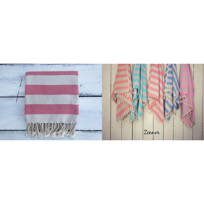 Hammam Towels-Zennor - Coral & Grey-The Trails Shop