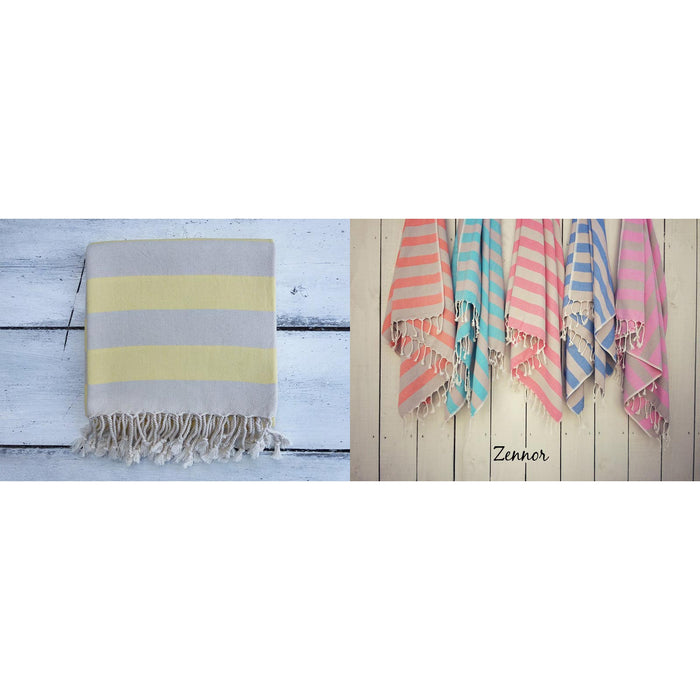 Hammam Towels-Zennor - Yellow & Grey-The Trails Shop