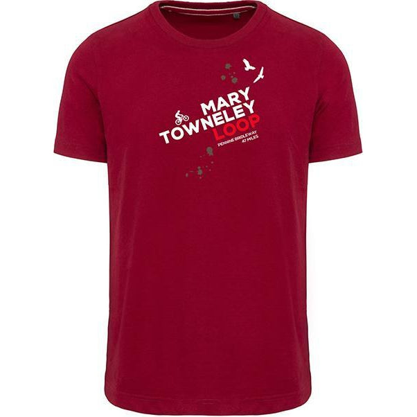 Mary Towneley Loop Mountain Biking T-Shirt-Men's Small-Dark Red-The Trails Shop