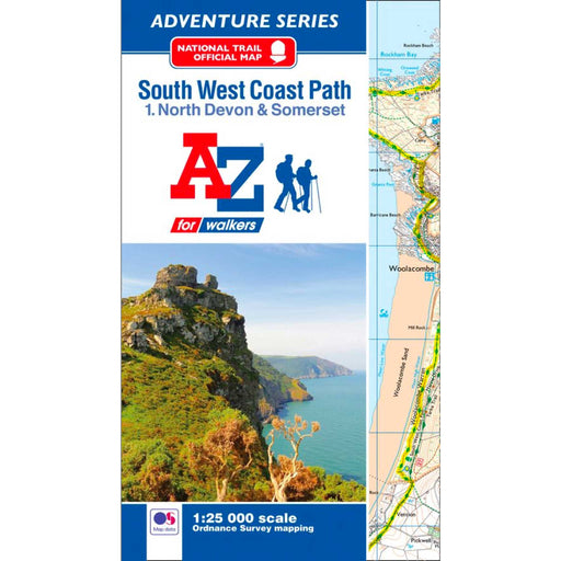South West Coast Path 1 North Devon & Somerset A-Z Adventure Atlas-The Trails Shop