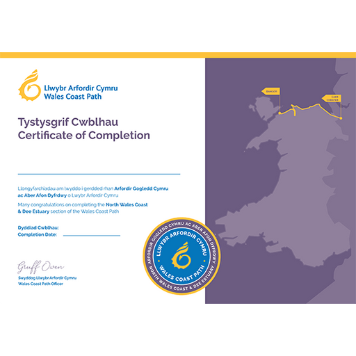 Wales Coast Path Completion Certificate-North Wales Coast and Dee Estuary-The Trails Shop