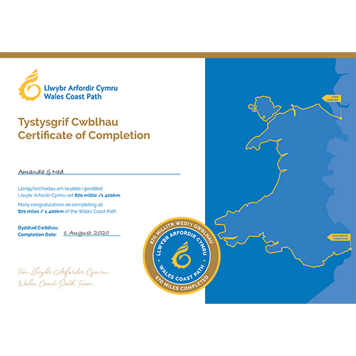 Wales Coast Path Completion Certificate-Wales Coast Path-The Trails Shop