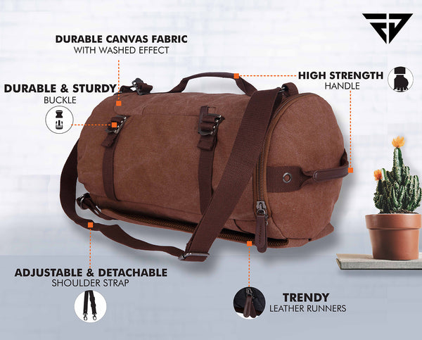 Canvas Brown 27L Duffle Travel Bag cum Backpack