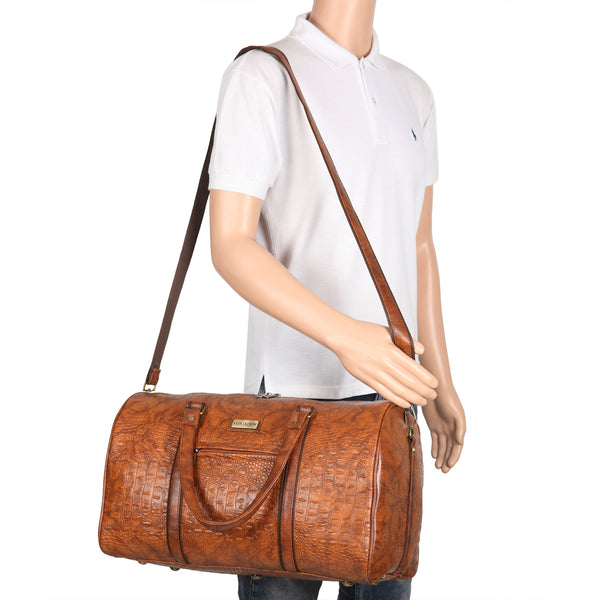 Tan Crocodile Textured Leatherette Weekender Duffle Bag for Travel