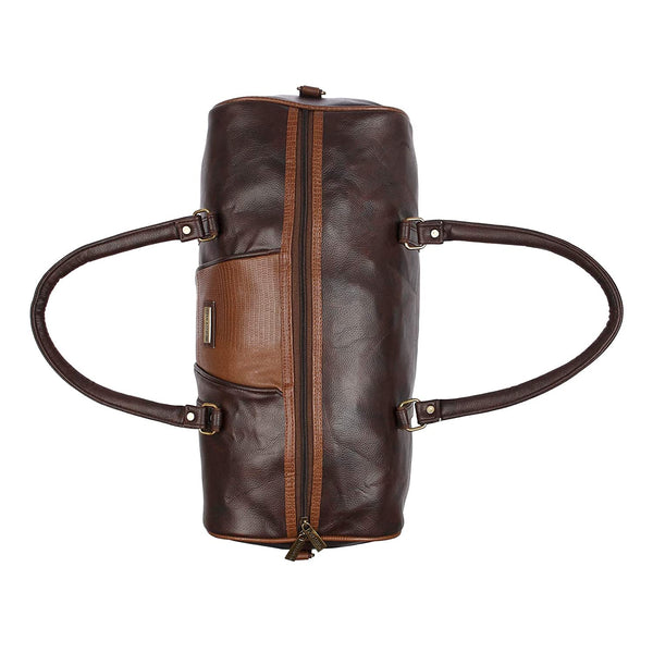 Brown Leatherette Weekender Duffle Bag for Travel