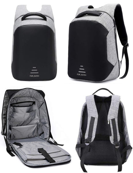 Fur Jaden Grey 25L Anti Theft Backpack with USB Charging Point