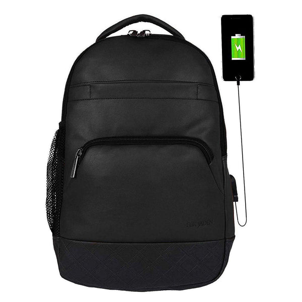 Fur Jaden Black PU Leather 15.6 Inch Laptop Backpack Bag With Usb Charging Port