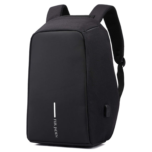 Fur Jaden 15 Ltrs Black Anti Theft Waterproof Laptop Backpack with USB Charging Port