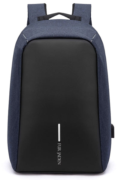Fur Jaden 15 Ltrs Navy Anti Theft Waterproof Laptop Backpack with USB Charging Port