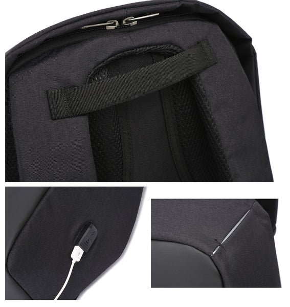 Fur Jaden Black Anti Theft Casual Backpack Bag with USB Charging Point