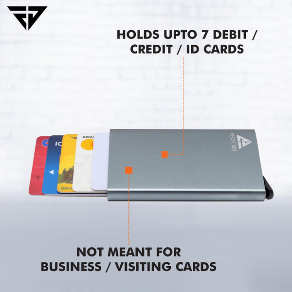 Grey Credit Debit Card Holder Case with RFID Blocking Anti-Theft Protection