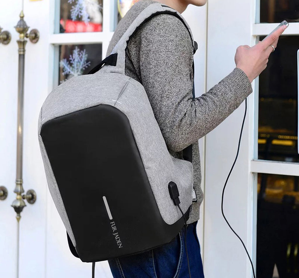 bcbf6a3a2e ... Fur Jaden Grey Anti Theft Casual Waterproof Backpack Bag with USB  Charging Point ...