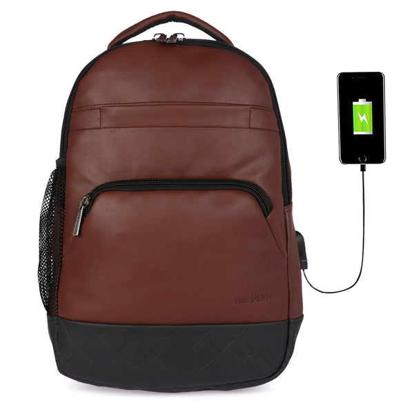 Fur Jaden Brown PU Leather 15.6 Inch Laptop Backpack Bag With Usb Charging Port