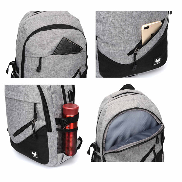Fur Jaden 25L Grey Casual Backpack with USB Charging Port and 15.6 Inch Laptop Pocket