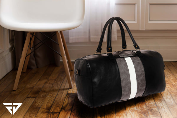 Black Faux Leather Weekender Duffle Travel Bag