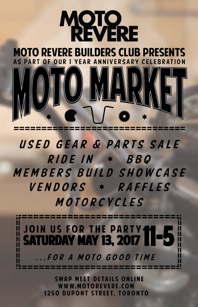 Moto Market Poster - Used Gear and Parts Sale, Ride In, BBQ, Build Showcase, Vendors and Raffle, May 13th