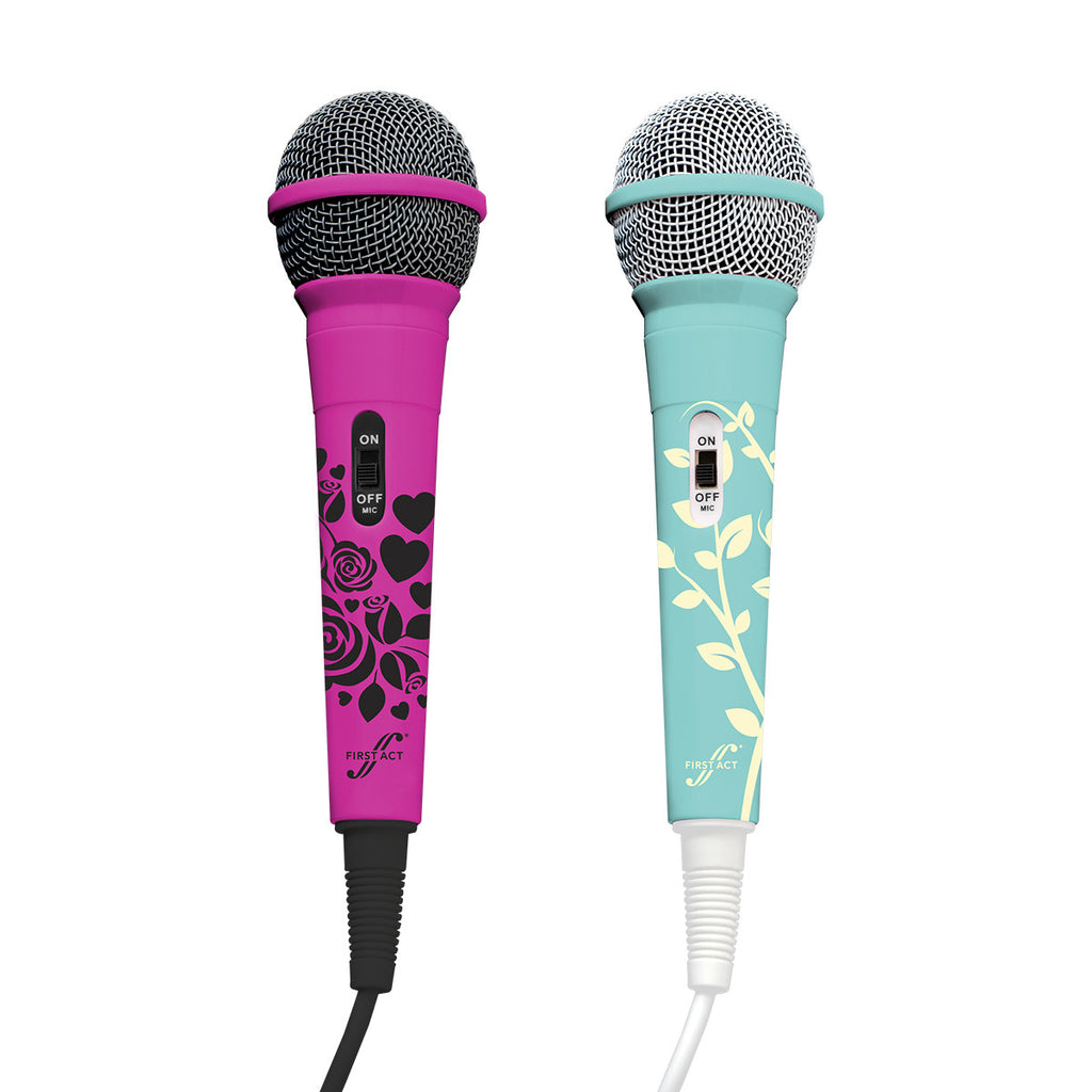 Microphone Pack: Pink Roses & Blue Leaves