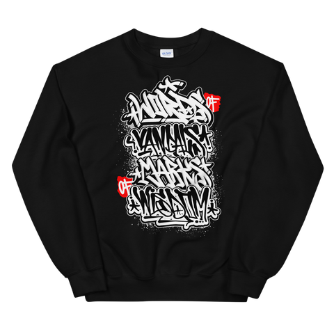 Words of Vandals Marks of Wisdom – Unisex Heavy Blend™ Crewneck Sweatshirt - Vandal Wisdom