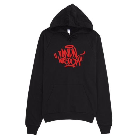 Handstyle Hoodie Red on Black by Vandal Wisdom Streetwear