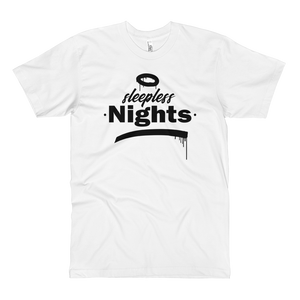 Open image in slideshow, Sleepless Nights - Fine Jersey Tall T-Shirt - White - Vandal Wisdom