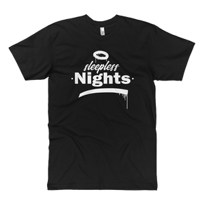 Open image in slideshow, Sleepless Nights - Fine Jersey Tall T-Shirt - Black - Vandal Wisdom