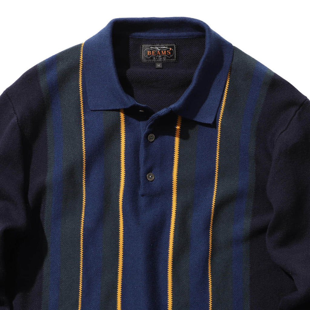 BEAMS PLUS STRIPED KNIT POLO 9G
