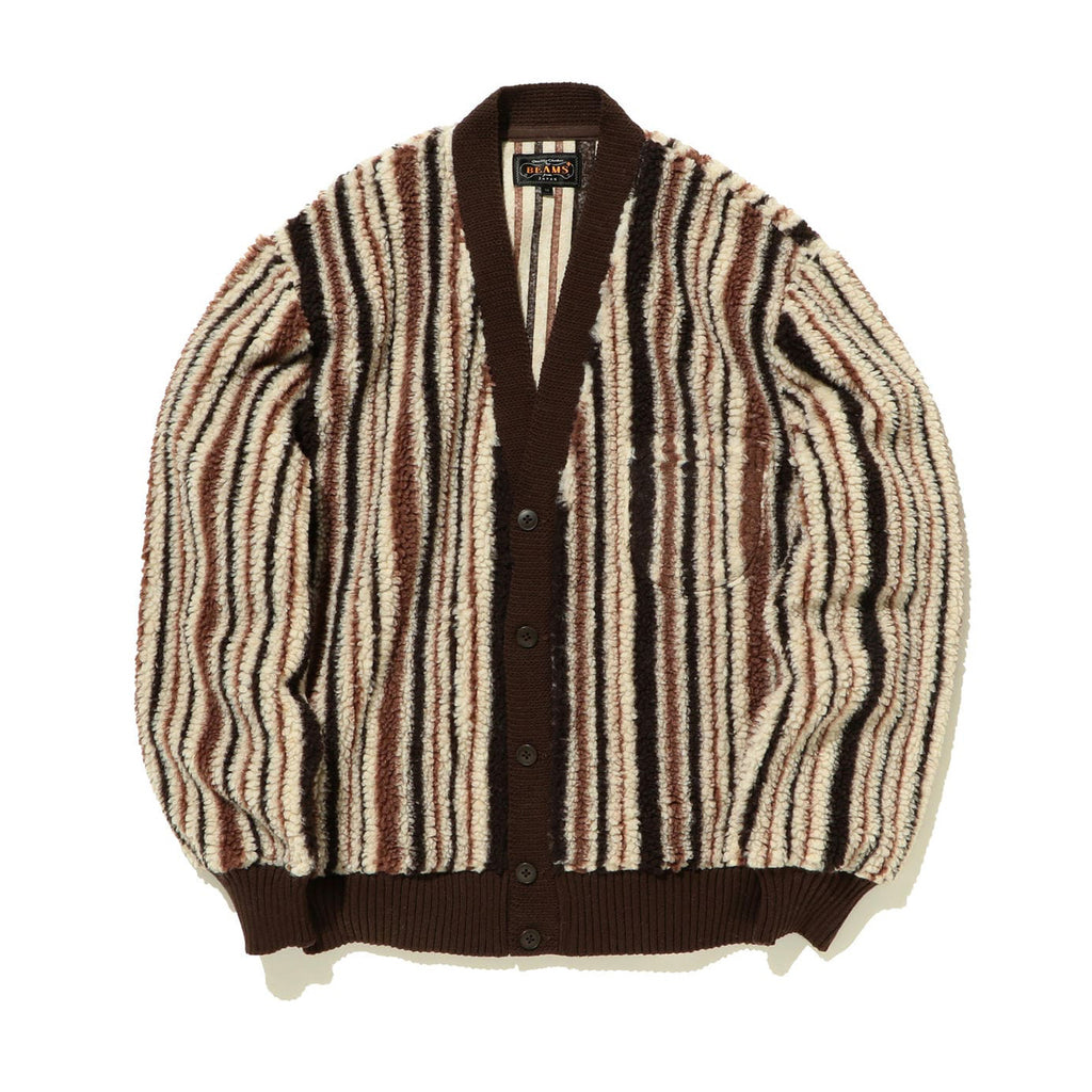 BEAMS PLUS STRIPED FLEECE CARDIGAN