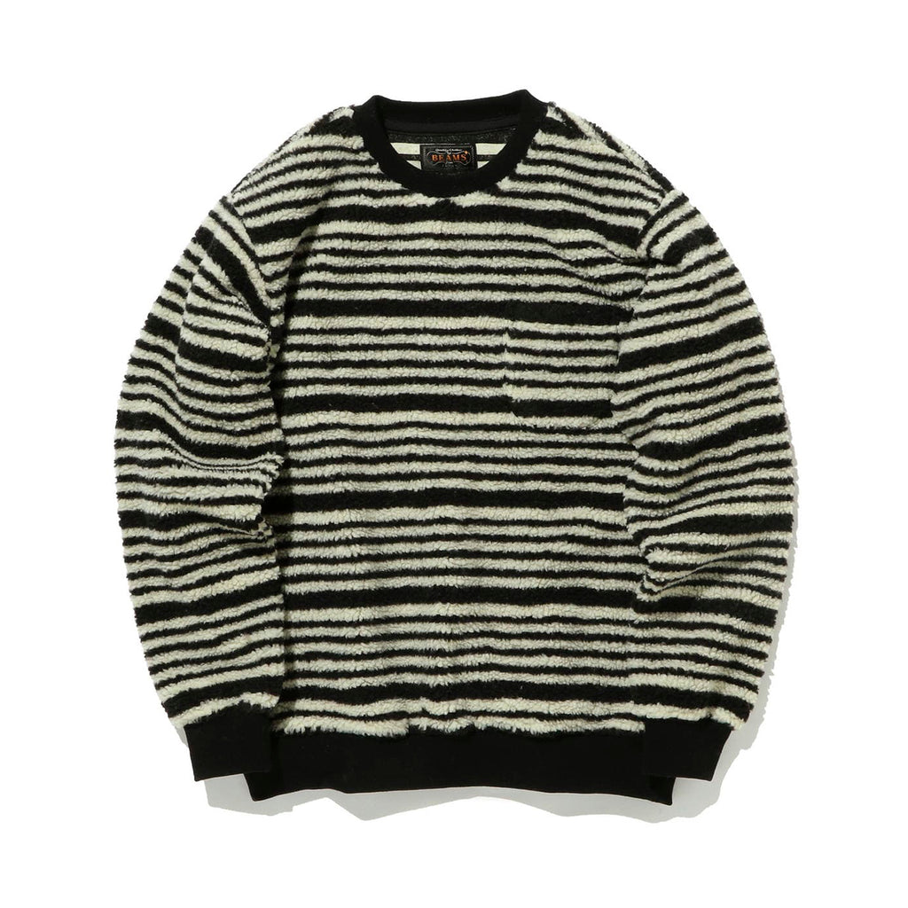 BEAMS PLUS STRIPED FLEECE CREW