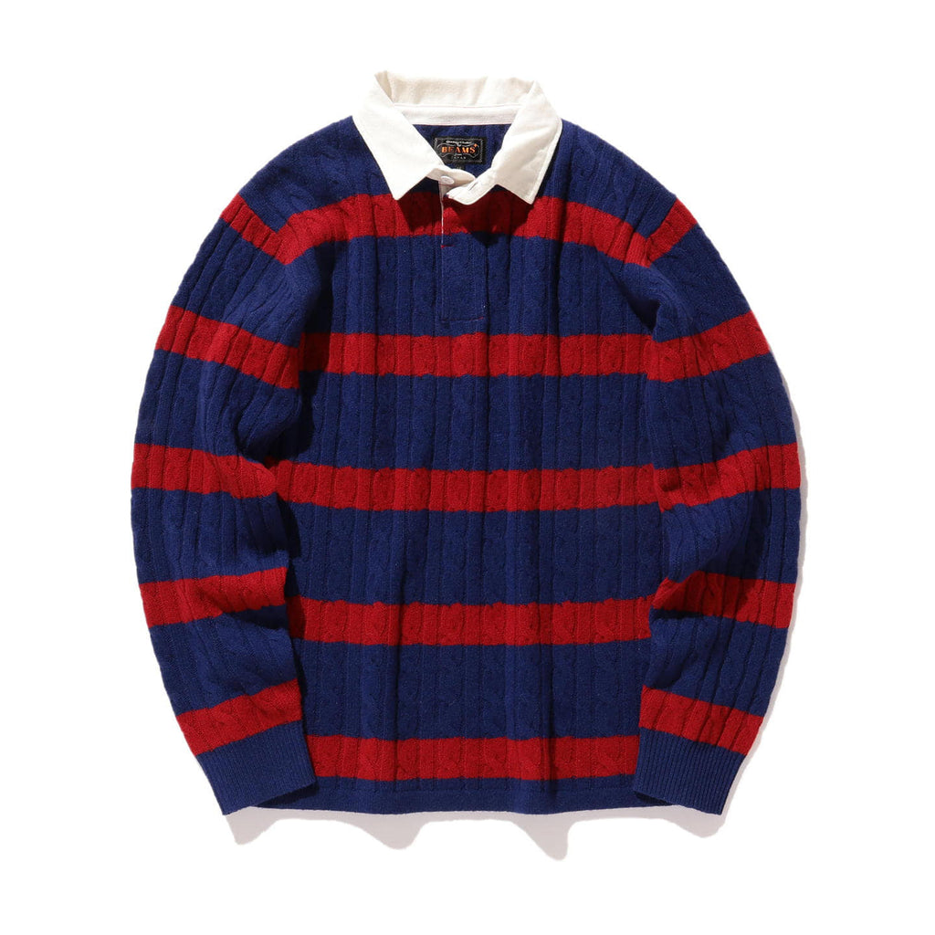 BEAMS PLUS STRIPED CABLE KNIT RUGGER