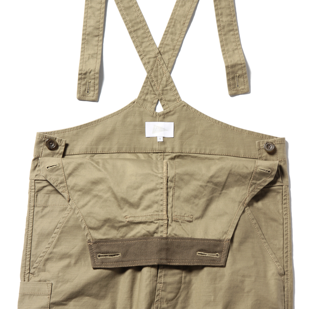 MARGARET STRAIGHT CANVAS OVERALLS, BEIGE
