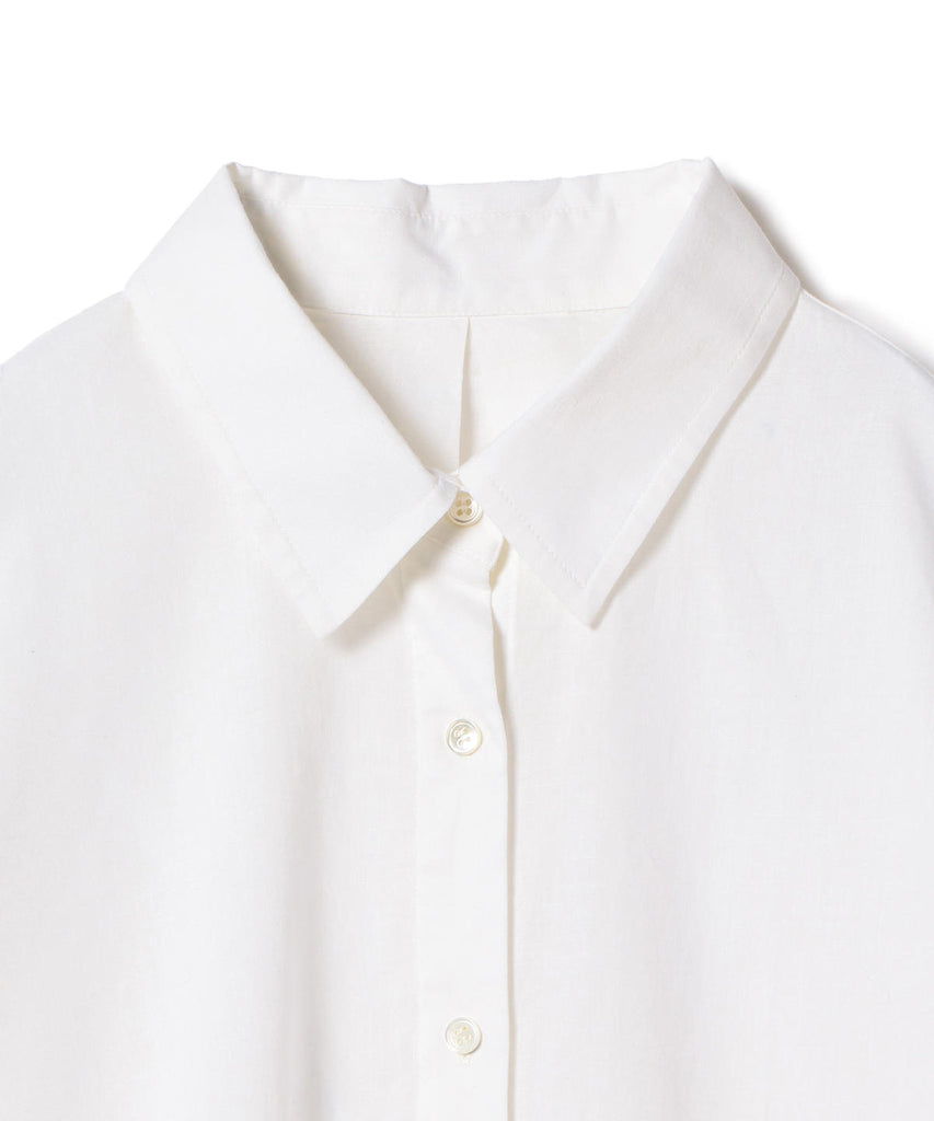 DRUMMY COTTON AND LINEN SPLIT HEM SHIRT
