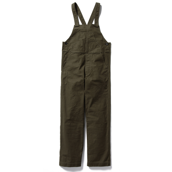 MARGARET STRAIGHT CANVAS OVERALLS, OLIVE